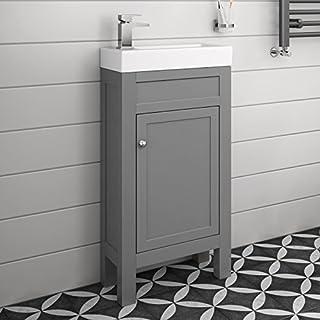 iBathUK Traditional Floorstanding Cloakroom Vanity Unit Compact Double Door Grey