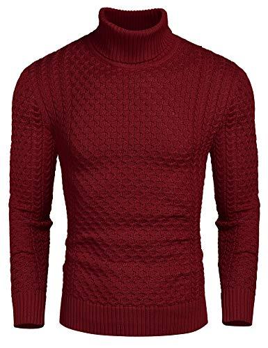 Coofandy Rollkragen Herren Strickpullover Pullover Slim Fit Winter Basic Sweater Mischen, Rot, M -