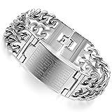 Flongo Große Breite Edelstahl Armband Link Handgelenk Silber Kruzifix Kreuz Englisch Bibel Herr Gebet Herren