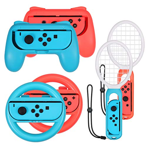 AUTOUTLET Set 3 1 Grip e racchetta da tennis e volante Set per Mario Tennis Aces Game Switch Controller Grip Handle Kit per Nintendo Switch Joy Con