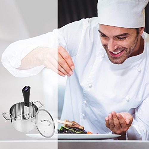 Sänger Premium Sous Vide Stick 800 Watt   Niedrigtemperatur-Garer bis zu 72 Stunden Garzeit einstellbar   Bringen und halten Sie Wasser auf Temperatur zwischen 40 - 90 °C   Mit Befestigungsklammer - 6