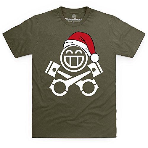 PistonHeads Smiley Santa T-Shirt, Herren Olivgrn