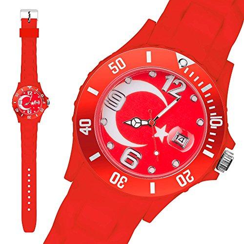 Taffstyle® Fanartikel Silikon Armbanduhr Fussball Länder Flaggen Style Türkei