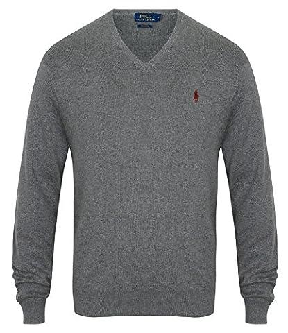 Ralph Lauren Pullover V-Neck Baumwolle Pima Cotton Grau