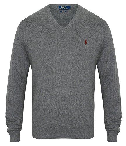 Ralph Lauren Polo Men's Pima Cotton V-Neck Jumper Various Colours S – XXL (XL, Dark Grey)