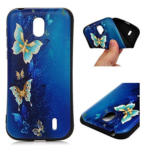 Nokia 1 Hülle Silikon Case Premium Relief TPU Silikon Tasche Schutzhülle Case Cover Handytasche Soft Flex Silikon Schlank Bumper Handyhülle für Nokia 1 Blauer Schmetterling