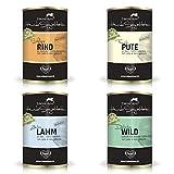Erlebnis Hund Hundefutter Testpaket Rind, Wild, Pute & Lamm 4 x 400g - 90% Fleisch Premium Nassfutter Dosenfutter