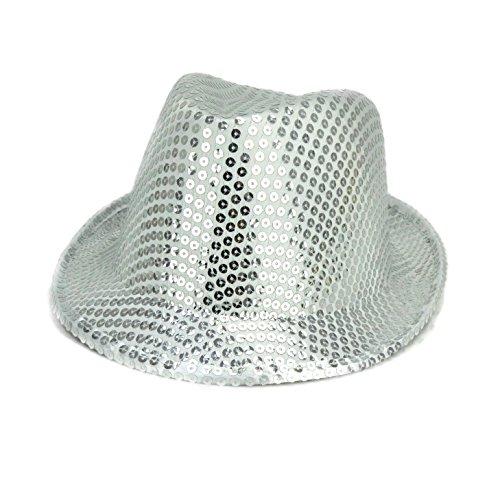 Silber Sequin Trilby-Art-Partei-Hut - Abendkleid - Hen Night Zubehör