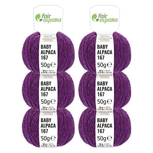 100% Alpakawolle in 50+ Farben (kratzfrei) - 300g Set (6 x 50g) - weiche Baby Alpaka Wolle zum Stricken & Häkeln in 6 Garnstärken - Lila Heather (Lila)