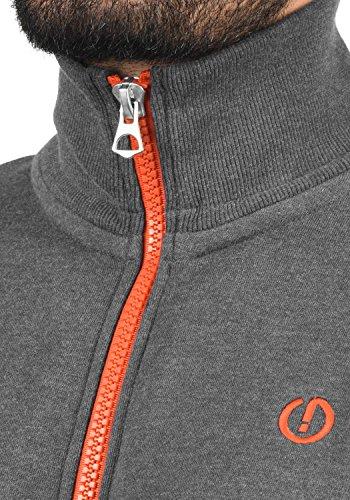 SOLID BennTrack Herren Sweatjacke Zip-Jacke mit Stehkragen aus hochwertiger Baumwollmischung Meliert Grey Melange (8236)