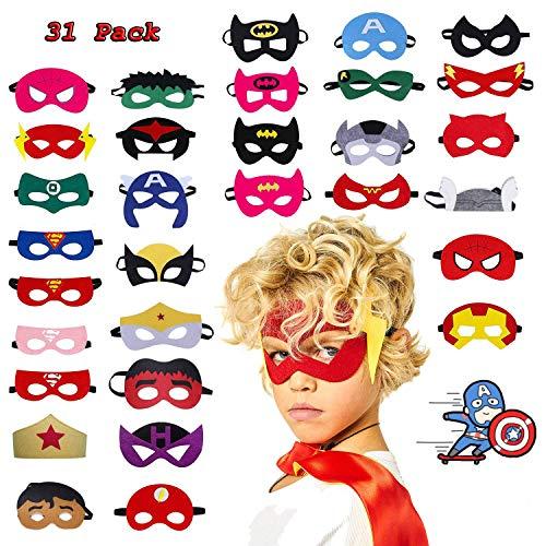 Lypumso 31 Pcs Kinder Masken, für Kinder ab 3 Jahren, Superheld Cosplay Party Augenmasken für Party Fasching Karneval Neujahr