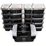[10-Pack] Premium 2-Compartment Stackable Food Storage Containers With Lids Microwave, Dishwasher Safe And Reusable Bento Lunch Box / Meal Prep With Divider Plates By California Home Goods