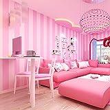 Lzhenjiang Wandbilder Nicht Selbstklebende Prinzessin Koreanische Kinder Rosa Zimmer Wallpaper Schlafzimmer, Moderne Vertikal Gestreifte Tapete Vlies Wohnzimmer Warm Und Süß, Hell-Lila,