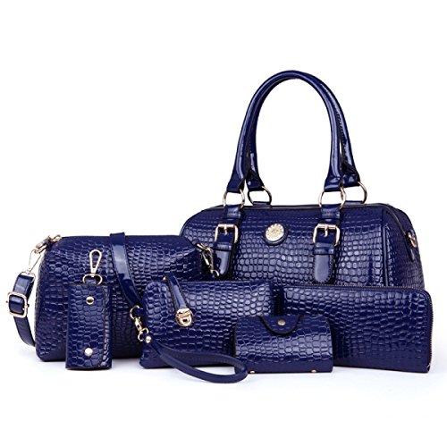 HAOYUXIANG Fashion Temperamento Di Fascino Classico Di Sei Serie Della Borsa Della Madre,Black Blue