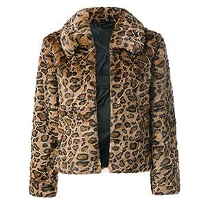 TianWlio Jacken Damen Winter Leopard Drucken Künstliche Manteljacke Winter Parka Oberbekleidung Parka Mäntel Herbst Winter Warme Jacken Strickjacken Kaffee S/M/L/XL/2XL/3XL/4XL/5XL/6XL