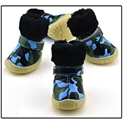 e, S : 2017 New Warm Camouflage Dog Shoes Winter Waterproof 4Pcs/Set Small Dogs Boots Cotton Non Slip XS XL for ChiHuaHua Pet Product