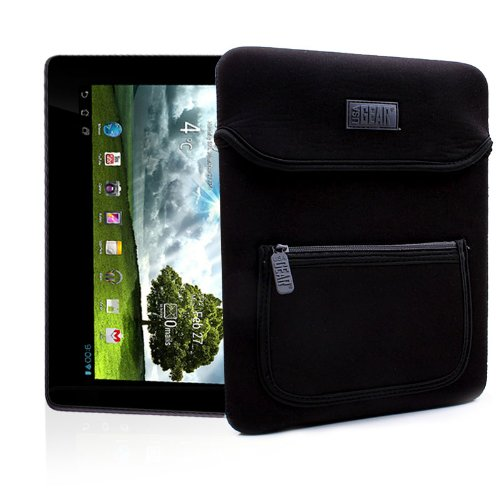 USA Gear FlexARMOR Schutzhülle – 10 Zoll-Tablet Tasche aus Neopren mit zusätzlicher Zubehör-Tasche & Handgriff, Schwarz