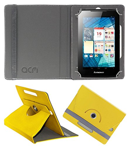 Acm Rotating 360° Leather Flip Case for Lenovo A1000l Cover Stand Yellow  available at amazon for Rs.149