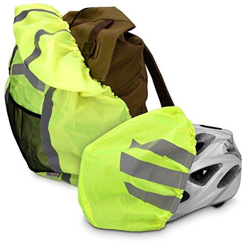 kwmobile Regenschutz Set für Helm Rucksack – Helmüberzug Regenhülle Schulranzen Helmschutz – Schutzhülle Fahrradhelm Ranzen – unisex - 3