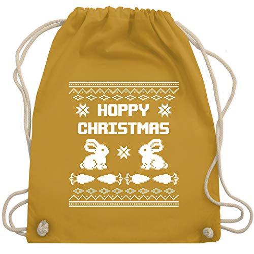 Weihnachten & Silvester - Ugly Christmas I Hoppy Christmas Hase - Unisize - Senfgelb - WM110 - Turnbeutel & Gym Bag (Ugly Xmas Ideen Sweater)