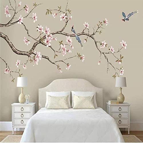 Mgdtt Tapeten Dekorative Wand Magnolia Chinesische Handgemalte Blumen Und Vögel Behandeln Blumen Und Einen Hintergrund Mit Vögeln-150X120Cm -