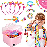 Ucradle Pop Beads, 550+PCS DIY Bead Set Pop Art Beads Pop Snap Beads Set to Make Hairband Necklaces Bracelets Rings and Art & Crafts Creativity Toys for Kids Girls 3+ Year
