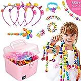 Ucradle Pop Beads, 550pcs Niños Joyería Snap Pop Beads DIY Kit Pulsera Anillo de Collar Juguetes Regalos de Cumpleaños de Juguetes para 3,4,5,6,7,8 Niños Niñas