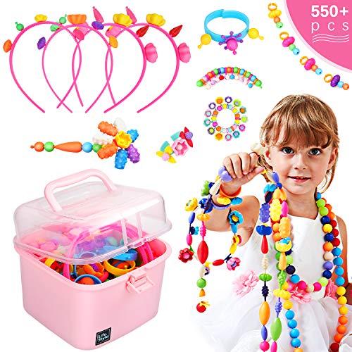 Ucradle Pop-Perlen, 550 + Stück, Pop-Arty Perlen, Schmuck-Set zum Basteln von Haarreifen, Halsketten, Armbändern, Ringen und Kunst und Handwerk, Kreativitätsspielzeug für Kinder Mädchen ab 3 Jahren