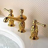 BiuTeFang Wasserhahn Antik Ti-PVD Finish Messing Dreiloch Zweigriff Badezimmer Wasserhahn Waschbecken Wasserhahn Waschbecken Wasserhahn Waschbecken Wasserhahn