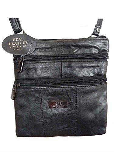 f54fc79df4 51%2BCdhUaeKL - Ladies Small Genuine Soft Leather Cross Body Shoulder Bag –  4 zipped