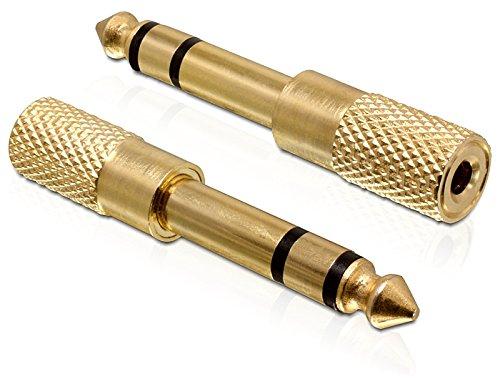 DELOCK Adapter Audio Klinke 3,5mm Buchse > 6,35mm Stecker Metall-gold 3 Pin