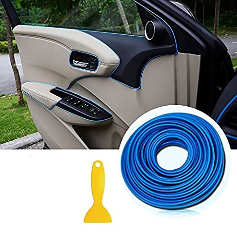 Car Trim Strips -AUTOMAN 196 inches Gap Filler Flexible Interior Decorative Moulding Strip Line Stickers DIY (Dark Blue)