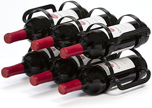 Botellero Para Vino de 6 Botellas - Negro