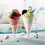 6 cuencos de postre de cristal con forma de cono de 250 ml para helado, frutas, frutas, frutos secos, aperitivos