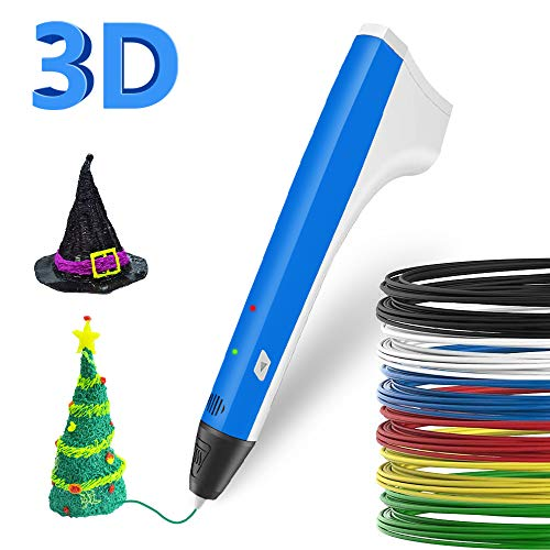 SUNLU 3D Printing Pen,3D Drawing Pen, 1 Button Operation, Fingerstalls & PCL,PLA 3D printer fialment Refills, Gifts & Toys For kids & Adults Doodler/ 3D Modeling Creative/ Education, Blue