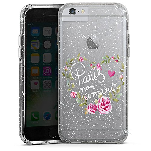 Apple iPhone 6 Plus Bumper Hülle Bumper Case Glitzer Hülle Paris Mon Amour Spruch ohne Hintergrund Bumper Case Glitzer silber