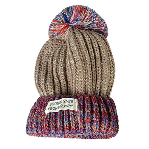 Strickmütze Frauen-Damen Mode Warm Pom Pom Beanie Hüte Winter mit Fellbommel Bommelmütze, Weiß Rot Marine Khaki Grau Gold.