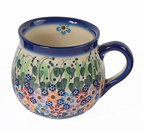 Traditionelle Polnische Keramik, handgemachte Keramiktassen, ein Kugelbecher mit Muster im Bunzlauer Stil (350ml), Q.502.DAISY (Daisy Indigo)