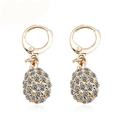 Fjyouria Charm pour femme Plaqué or rose 18ct Dormeuses en forme de boule de boucles d'oreilles créoles avec Full Diamant Cristal Blanc