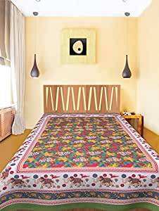 Jaipuri Bedsheets 100% Pure Cotton Green Colour 1 Single BedSheet WithOut Pillow Covers ( Size :-58X89 Inches 148x228 cm)