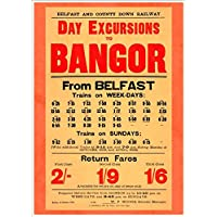 """""""Belfast and County Down Railway - Day Excursions To Bangor"""" A4 Glossy Vintage Railway Poster Art Print"""