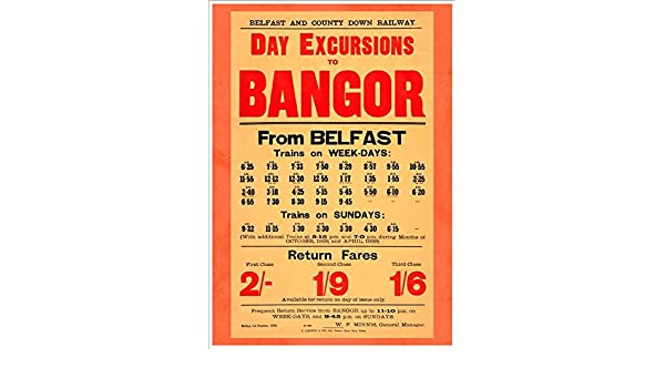 Belfast and County Down Railway Day Excursions To Bangor A4 Glossy Vintage Railway Poster Art Print