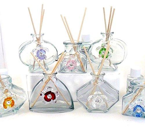 Bomboniere profumatori in vetro con fiori assortiti in cristallo brillante