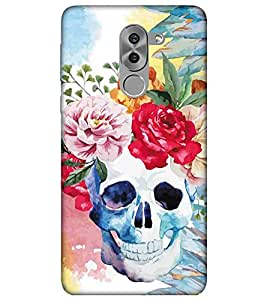 For Huawei Honor 6X floral background ( floral background, skull, painting, flower ) Printed Designer Back Case Cover By TAKKLOO