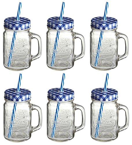 Trinken Gläser Sets Retro (Set von 6original Mason Smoothie Gläser, Deckel & Trinkhalme + '25Super Smoothies' Rezept Buch)