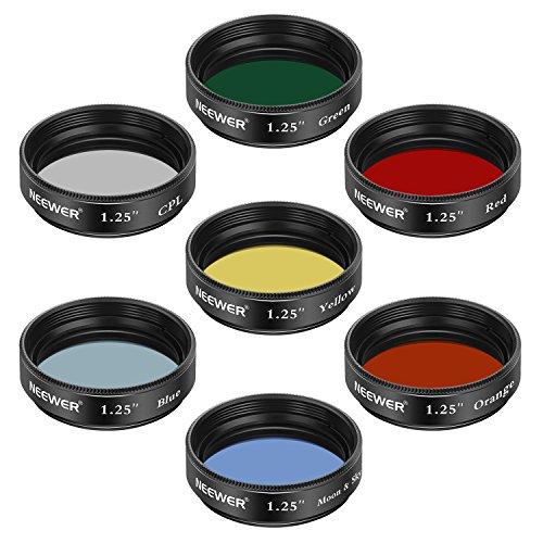 Neewer 1,25 Zoll Teleskop Mondfilter, CPL-Filter, 5 Farbfilterset (Rot, Orange, Gelb, Grün, Blau), Okulare Filter zur Verbesserung der Definition und Auflösung in der planetaren Mondbeobachtung