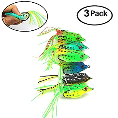 FC MXBB Topwater Lures Frog Lures Soft Fishing Lure with Double Sharp Hooks Soft Bait for Bass Snakehead Salmon Freshwater Saltwater Fishing Large Model (3Pack Random Color