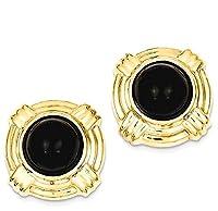 IceCarats 14k Yellow Gold Onyx Fancy Earrings