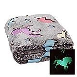 Manta con bombillas de estrellas en los extremos y unicornios, manta de 160x 130cm, unicornio, estrella, 100% poliéster, unicornio, 130 x 160 cm