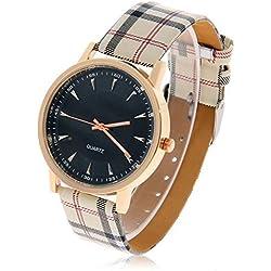 SaySure - Unisex Strips Hour Marks Women Leather Strap Quartz Men Wrist Watch.Fashion Sports Watches Male Atmos Clock Relogio Masculino - CHA-UK-CJ-BG-000370